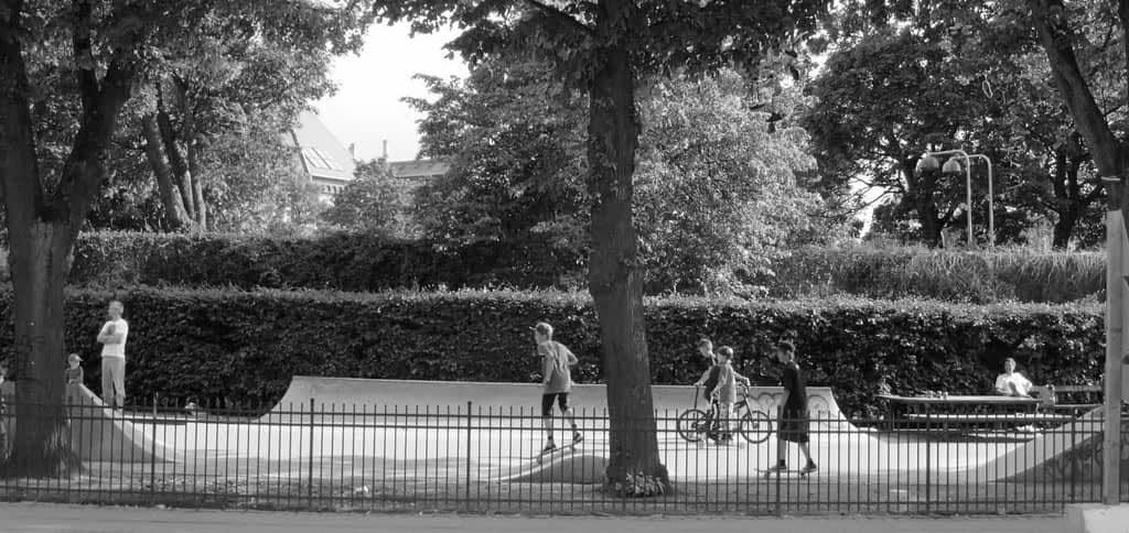 Skatere på Enghave plads, Vesterbro, København